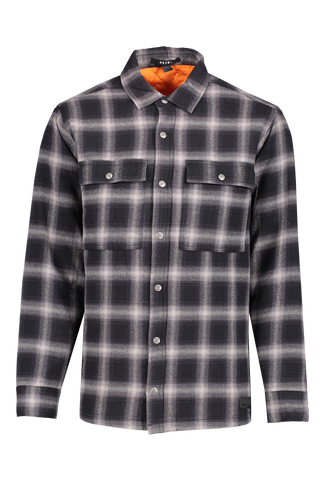 Front view of KSUBI Men's Strata Quilted Check Long Sleeve Shirt