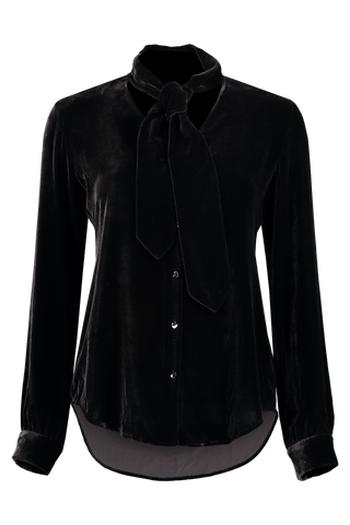 Front view image of L'Agence Gisele Neck Tie Blouse Black