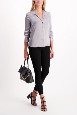 Full Body Image Of Model Wearing Aoki Band Collar Blouse