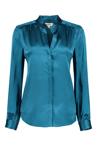 Front view image of L'AGENCE Women's Bianca Band Collar Blouse Cortez Blue
