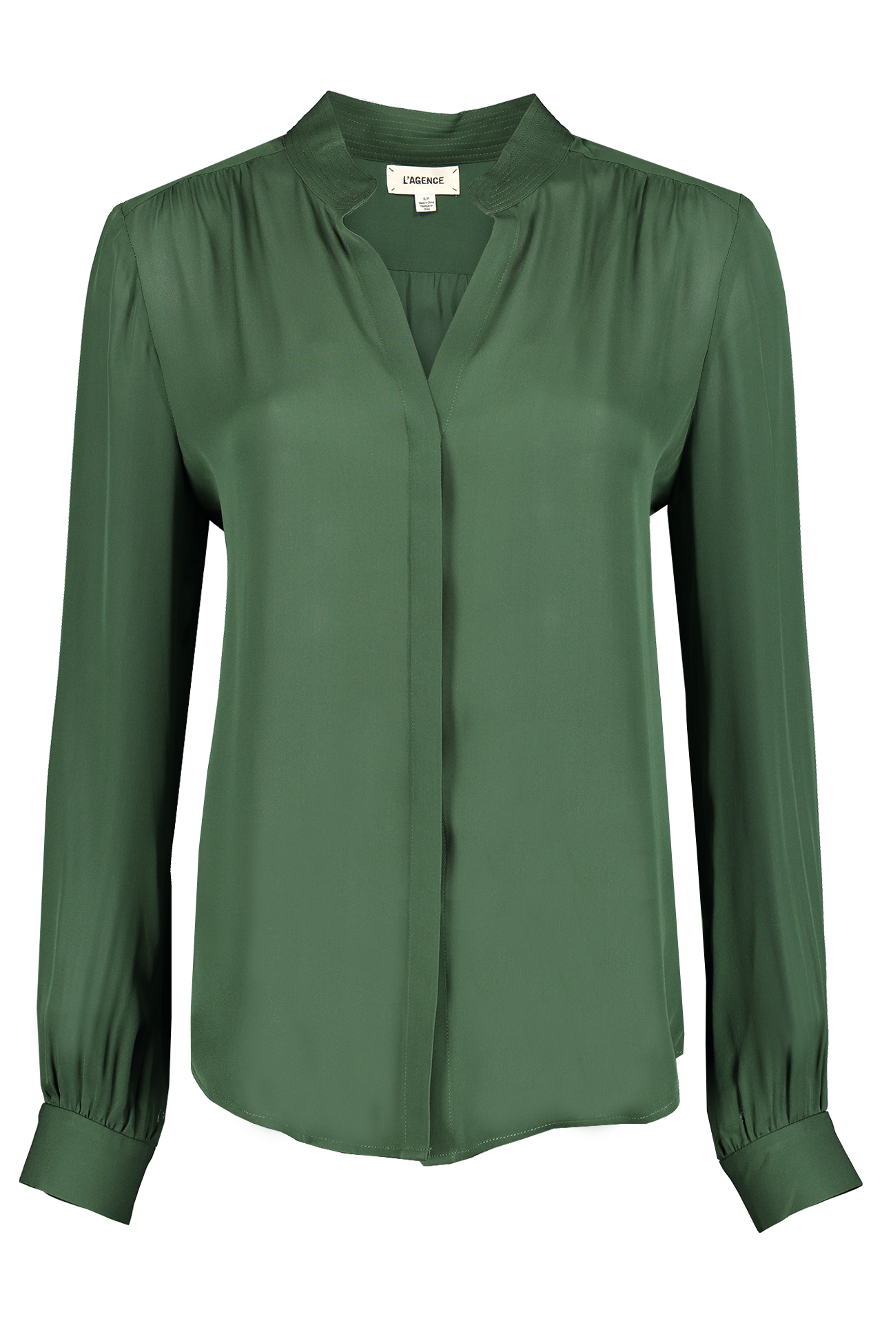 Front Image Of L'agence Bianca Band Collar Blouse Dark Green