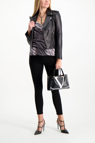 Full Body Image Of Model Wearing L'agnece biker jacket
