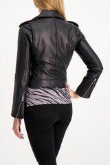 Back Crop Image Of Model Wearing L'agnece biker jacket