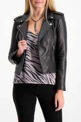Front Crop Image Of Model Wearing L'agnece biker jacket