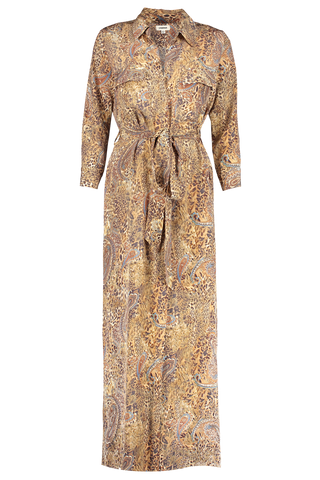 Front view image of L'Agence Cameron Long Shirt Dress Bronze Valencia