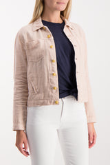 Front Crop Image Of Model Wearing Celine Slim Femme Jacket