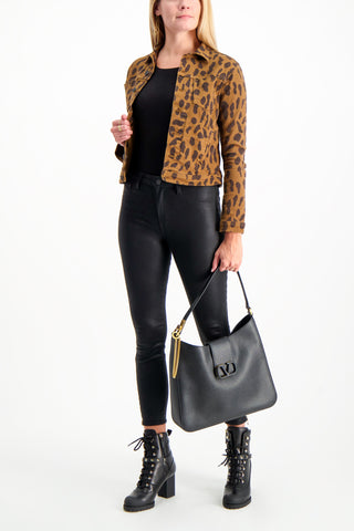 Full Body Image Of Model Wearing Celine Spot Animal Print Jacket