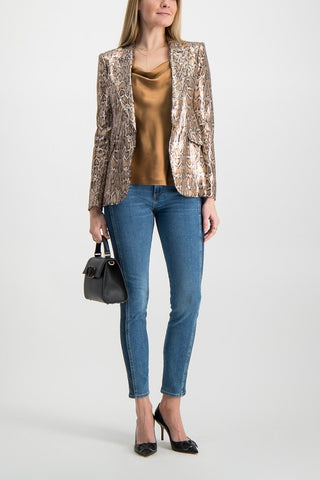 Full Body Image Of Model Wearing L'agence Chamberlain Blazer