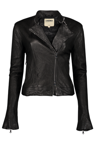 Devon Leather Moto Jacket Black