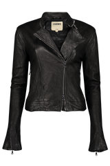 STK DEVON LEATHER MOTO JACKET BLACK