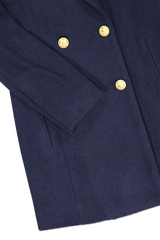 Hemline and cuff detail image of L'AGENCE Emmi Peacoat Navy