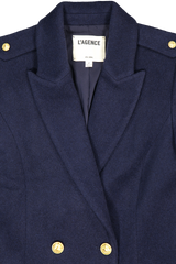 Front collar and lapel detail image of L'AGENCE Emmi Peacoat Navy