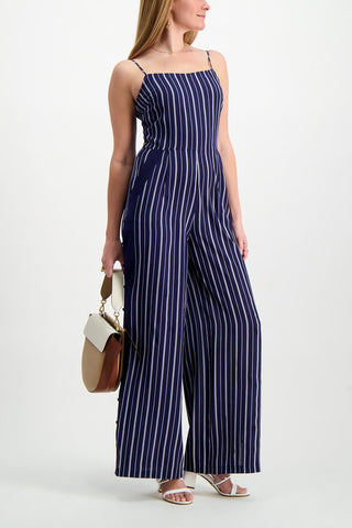 Full Body Image Of Model Wearing L'agence Finley Button Leg Jumpsuit