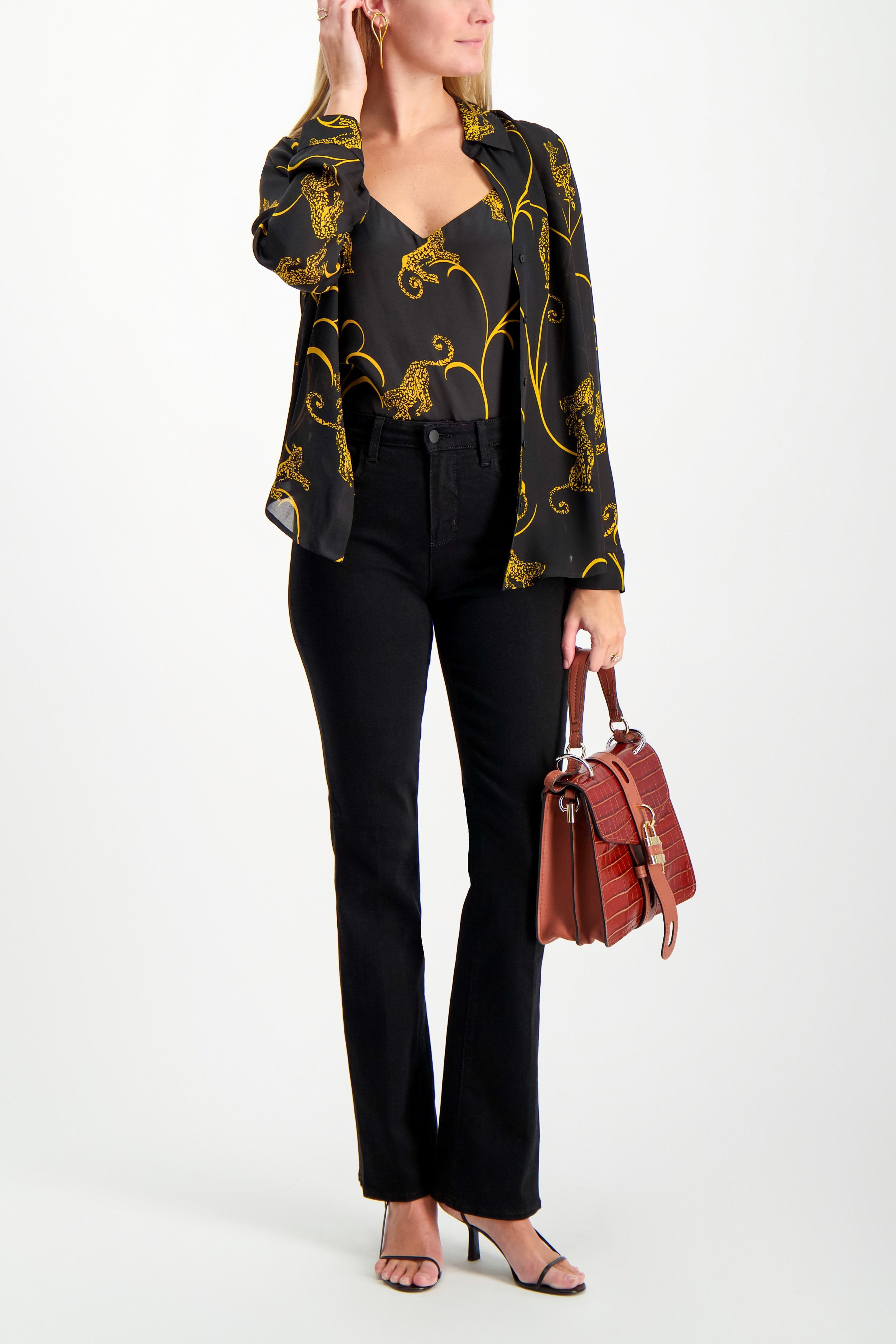 Full Body Image Of Model Wearing L'agence Jane Spaghetti Strap Top Black/Gold Tiger