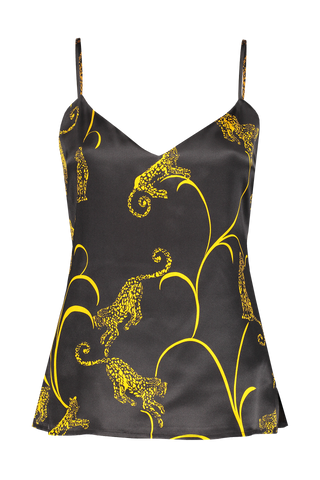 Front Image Of L'agence Jane Spaghetti Strap Top Black/Gold Tiger