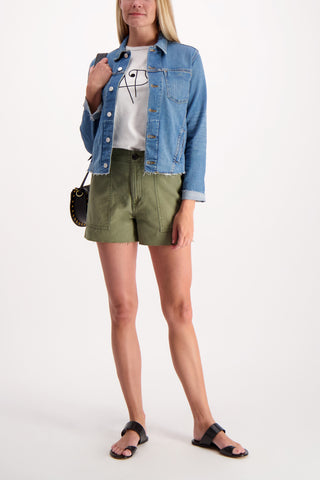 Full Body Image Of Model Wearing A.P.C. Janelle Slim Raw Jacket