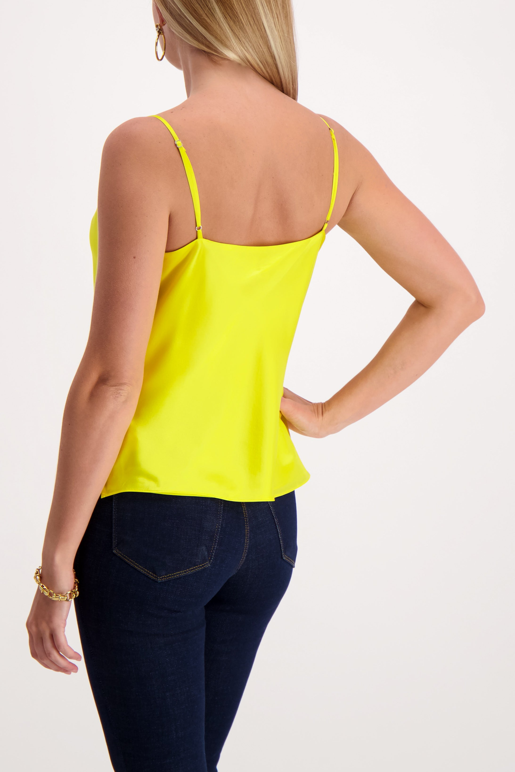 Back Crop  Image Of Model Wearing L'agence Kay Cowl Tank