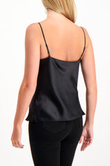 Back Crop Image Of Model Wearing L'agence Kay Cowl Tank Black