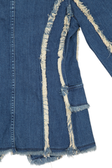 Back hemline and sleeve detail image of L'AGENCE Kaydence Fray Jacket
