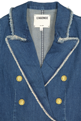 Front collar and lapel detail image of L'AGENCE Kaydence Fray Jacket