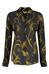 Long Sleeve Nina Blouse Black/Gold Tiger