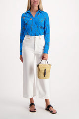 Full Body Image Of Model Wearing Long Sleeve Nina Blouse Blue