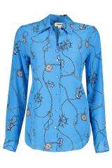 Front Image Long Sleeve Nina Blouse Blue