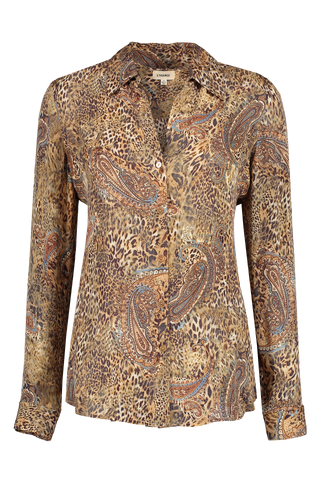 Front view image of L'AGENCE Women's Long Sleeve Nina Blouse Bronze Valencia