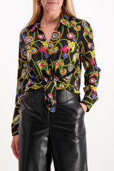 Front Crop Image Of Model Wearing L'Agence Long Sleeve Nina Blouse Black