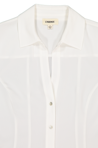Front collar detail image of L'AGENCE Long Sleeve Priscilla Blouse Ivory