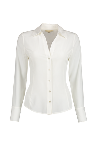 Front view image of L'AGENCE Long Sleeve Priscilla Blouse Ivory
