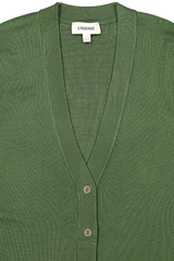 Front neckline and button detail image of L'agence Lucas Long Cardigan Elm Tree