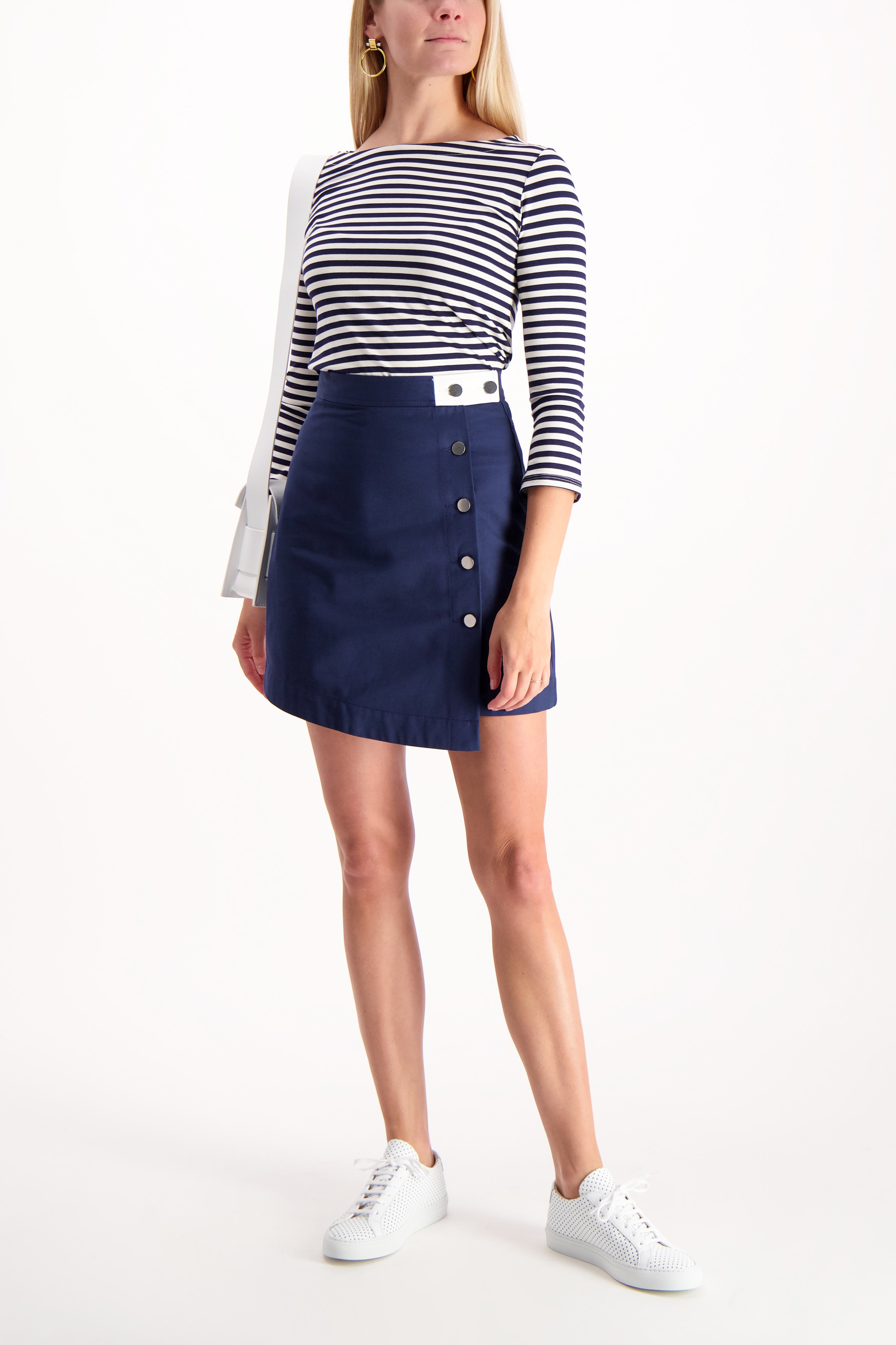 Full Body Image Of Model Wearing Lucy Boat Neck Shirt