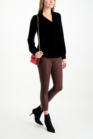 Full Body Image Of Model Wearing L'Agence Margot Skinny Jean Cocoa Coated