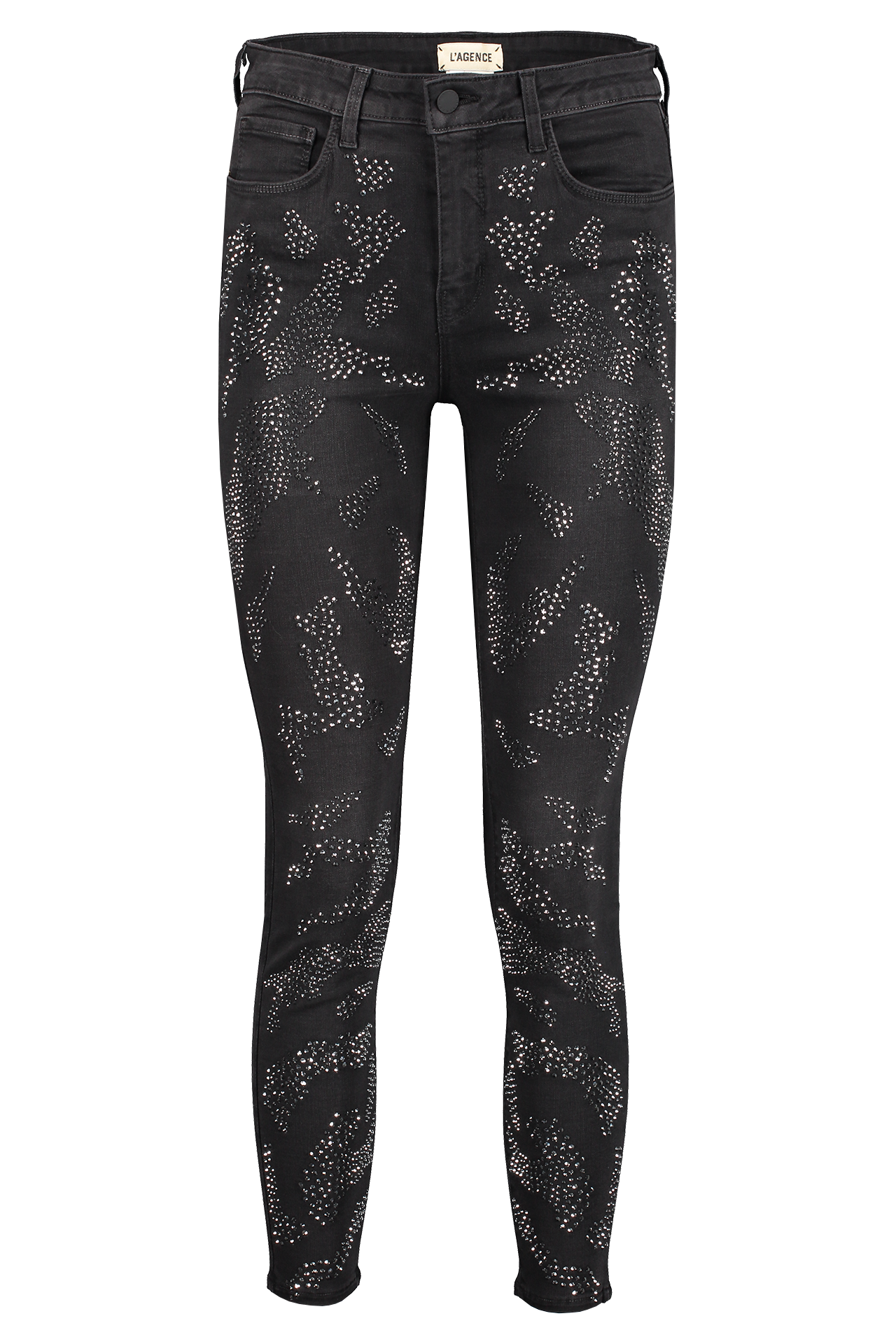 Front view image of L'AGENCE Women's Margot High Rise Leopard Crystal Skinny