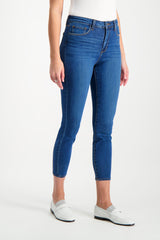 Front Crop Image Of Model Wearing L'AGENCE Margot High Rise Skinny Laguna