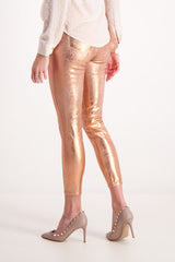 Back Crop Image Of Model Wearing Lágence Margot High Rise Skinny Rose Gold