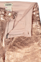 Zipper Detail Image of Lágence Margot High Rise Skinny Rose Gold