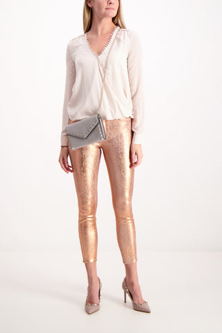 Full Body Image Of Model Wearing Lágence Margot High Rise Skinny Rose Gold