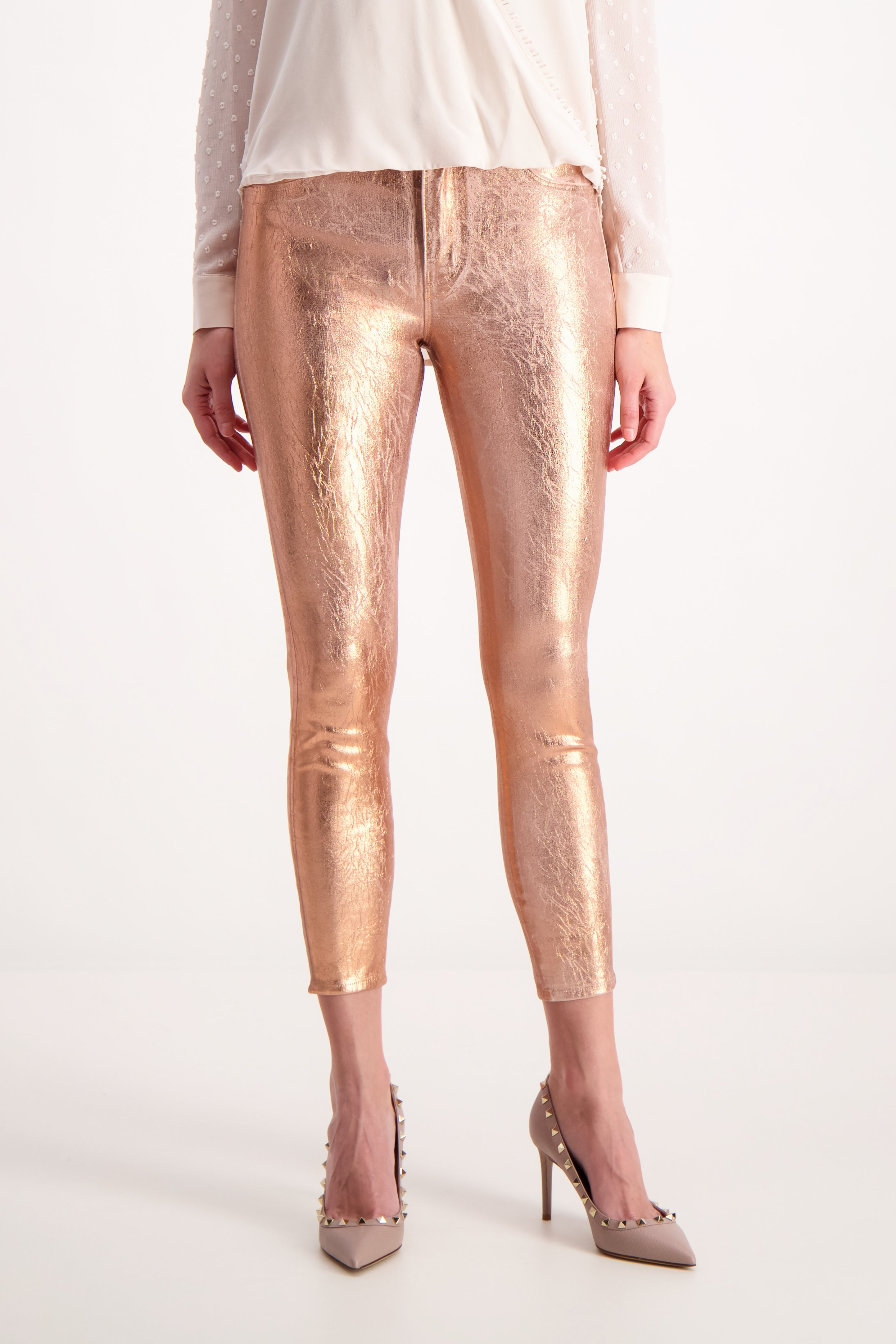 Front Crop Image Of Model Wearing Lágence Margot High Rise Skinny Rose Gold