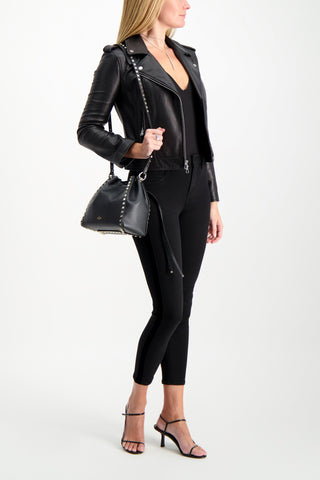 Full Body Image Of Model Wearing L'AGENCE Margot High Rise Tuxedo Skinny