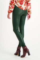 Back Crop Image Of Model Wearing Marguerite High Rise Skinny Moss Coated