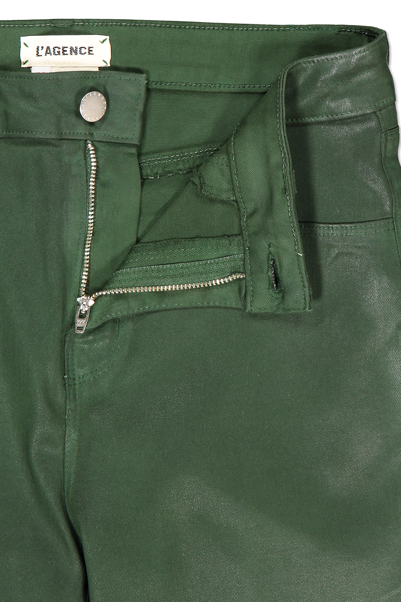 Waistline and zipper detail image of L'AGENCE Marguerite High Rise Skinny Moss Coated