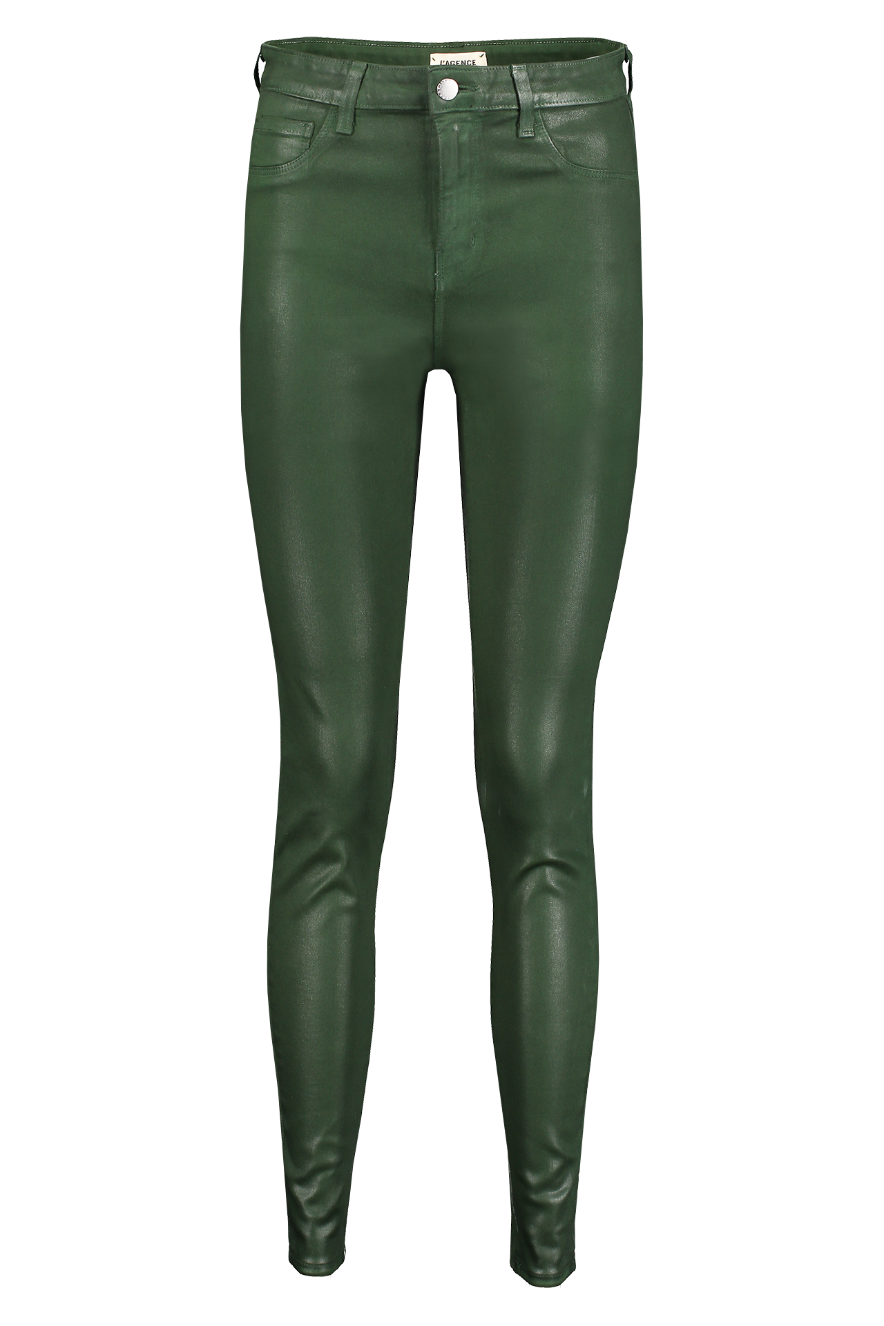 Front view image of L'AGENCE Marguerite High Rise Skinny Moss Coated
