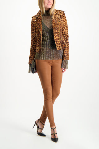 Full Body Image Of Model Wearing L'Agence Marguerite Skinny Pant Java Coated