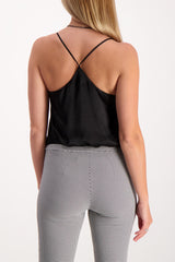 Back Crop Image Of Model Wearing L'agence Mariela Racer Bodysuit