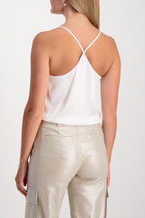 Back Crop Image Of Model Wearing Mariela Racer Bodysuit