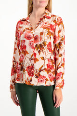 Front Crop Image Of Model Wearing Nina Blouse Pomelo Rosa