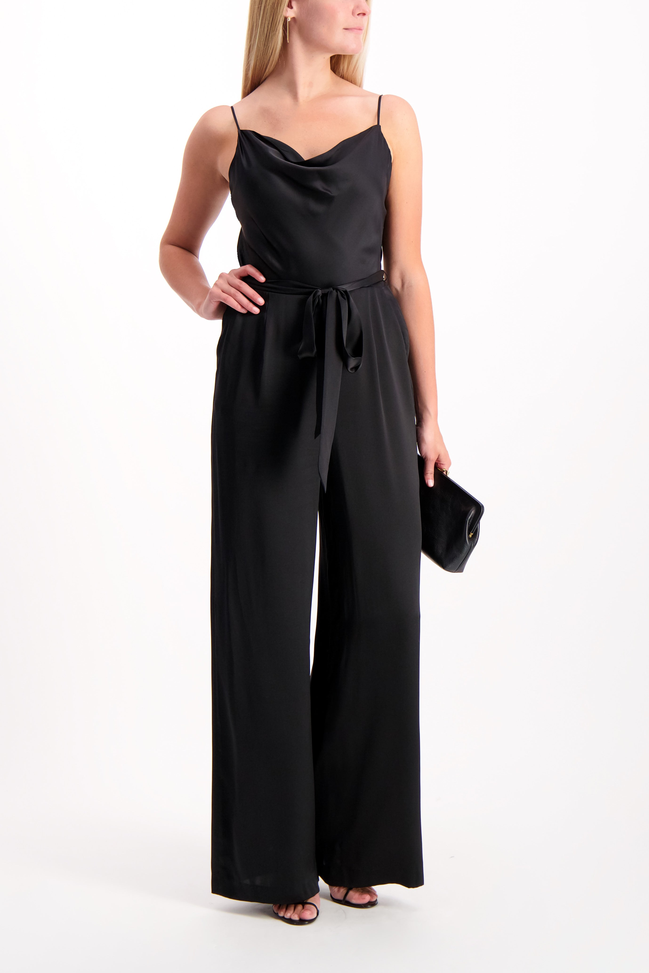 Full Body Image Of Model Wearing Rannah Cowl Jumpsuit