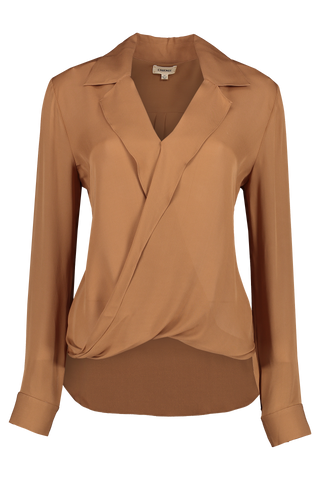 Front view image of L'AGENCE Rita Drape Front Blouse Canyon